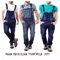 Jardineira Jeans Masculina Macacão Estilo Europeu 38 Ao 46