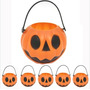 Kit 6 Unid Mini Cesta Abóbora Decoração Festa Halloween