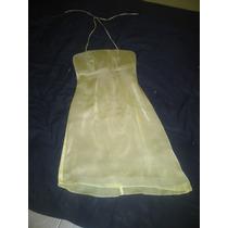 Vestido Tipo Coctail, Color Beige, Talla S.