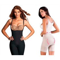 Body Faja Reductora Mujer Negro Y Piel + Bretel Removible