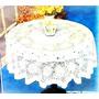 Mantel Crochet Redondo Pvc Blanco Pesado