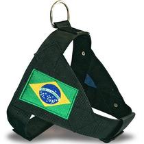 Peitoral Para Caes Nylon Bandeira Raças Grande Porte N.2