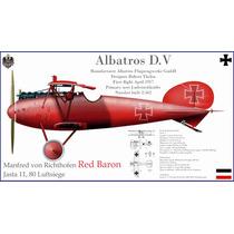 Lienzo Tela Avión Albatros D. V 1917 Barón Rojo 50 X 90 Cm