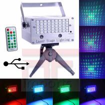 Projetor Laser 45 Leds Holográfico C/ 2 Canhões Usb Strobo