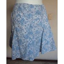Falda Circular Color Azul Floreada, Talla 12!! Fch347