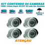 Kit 04 Câmera Infravermelho 1500 Linhas Filtro Ir Cut 50 Mts