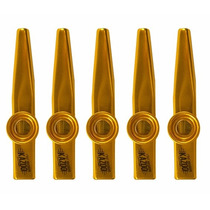 Jogo Kazoo 5 Unidades Instrumento Sopro Dourado Profissional