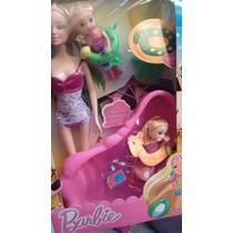 Barbie Com Piscina + Filhinhas + Acessórios