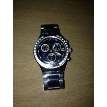 Relógio Swatch Irony Chrono Cromado Preto E Prata