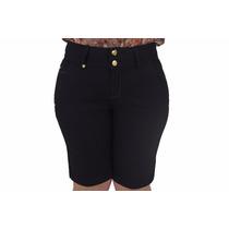 Bermuda Ciclista Feminina Jeans Elástico No Cós Sint