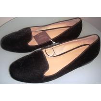 Sapato Zara Em Veludo Com Solado Em Couro Novo