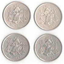 Serie De 4 Monedas 25 Centavos Balanza Plata Ley .300