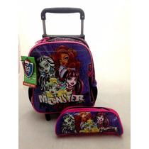 Kit Monster High Original : Mochila Rodinhas Pp + Estojo