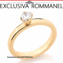 Anel Solitario Aliança Folheado Ouro Rommanel 511633