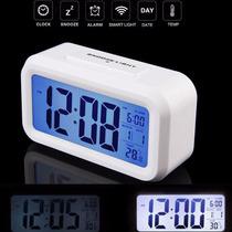 Reloj Digital Luz Led, Despertador Termómetro Lcd Excelente