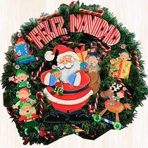 Corona Navideña De Santa Claus En Madera Country