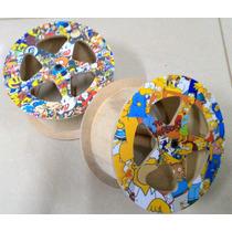 Carretilha Para Pipa De Madeira 21cm Adesivada Corte/laser