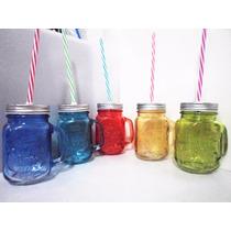 100 Masons Jars Con Asa Diferentes Colores Tapa Y Popote Bio