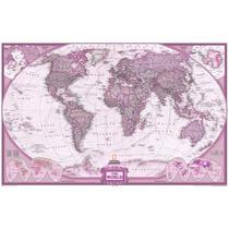 Mapa Mundi Grande Do Mundo Decorar Parede Tons Vinho Rosado