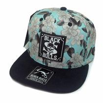 Boné Black Bulls Aba Reta Floral Original Snapback Azul
