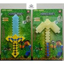 Minecraft Kit Com Espada 38cm E Picareta 35cm Som E Luz