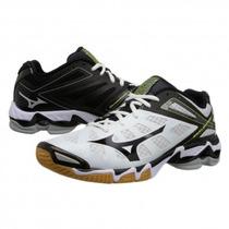 Tenis Mizuno Rx3 Blanco Negro Para Voleibol, Gym, Balonmano