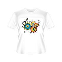 Camisetas Notas Musicais Coloridas Tradicional Ou Baby Look