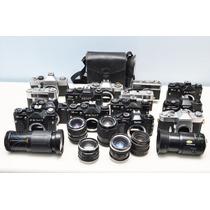 Lote Câmeras Lentes Antigas Manutenção Leica Canon Nikon