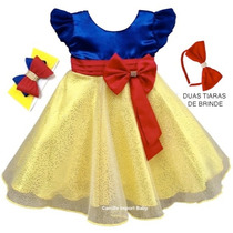 Vestido Infantil Branca De Neve Luxo Festa Com 2 Tiaras