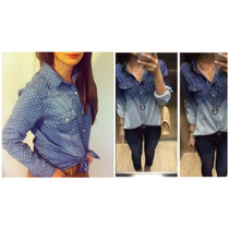 Kit 2 Camisas Feminina Jeans Decrade/póa