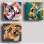 3 Quadros Painéis Gravura Tela Pintura Cubismo Violões 30x30