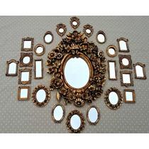 Kit 25 Espelhos Estilo Ouro Velho Com Molduras Em Resina