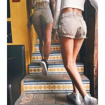 Shorts Jeans Feminino Cos Alto Cintura Alta Coloridos Hot