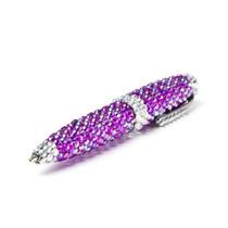 Pluma Diamante Morado Purple Satsuma Tinta Negra Pen
