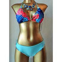 Bikini Turquesa Reversible Bordado Con Cristal.envio Gratis