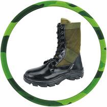 Coturno Lona Verde Selva, Bota, Exercito, Militar 100% Couro