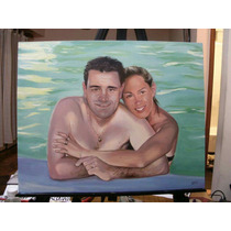 Retrato Óleo Por Encargo Pareja, 2 Personas, 40x50cm