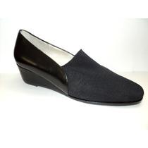Zapatos En Taco Chino Cuero Negro Elastizado