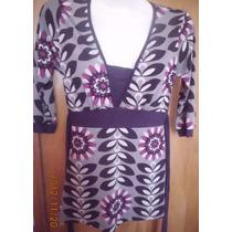 Divina Blusa Vestidito De Dama Seda Fria Estampada Talle S
