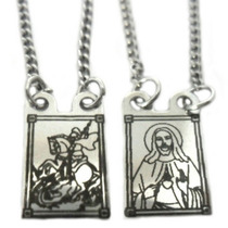 Escapulário Sagrado Coração E São Jorge Aço Inox