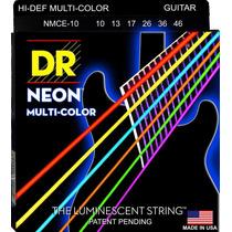 Jogo De Cordas Para Guitarra Dr Neon Multi-color 010 Nmce10