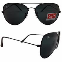 Óculos Aviador Masculino Preto Com Armação Preta Polarizada