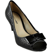 Sapato Peep Toe Emporio Naka Preto Couro 36 38