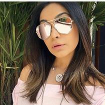 Óculos Sol Feminino Espelhado Aviador Lançamento Metal Uv400