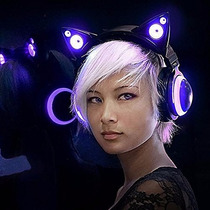 Audifonos Oreja De Gato Cat Ear Headphones Azul O Rojo