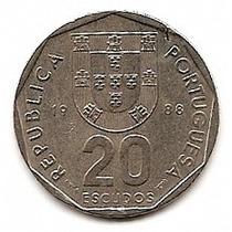 Portugal Moneda De Nickel De 20 Escudos Año 1988