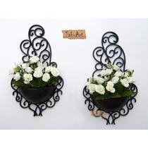 2 Arranjos Flores Rosas Artificiais No Vaso Arandela Parede
