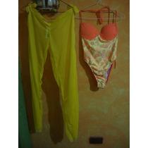 Conjunto De Traje De Baño Y Pantalón Pareo ( Talla M)
