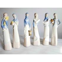 Antiguas 6 Figuras Campesinas Cerámica Esmaltada Policromada
