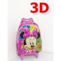 Mochila Minnie Rodinhas Infantil Escolar 3d